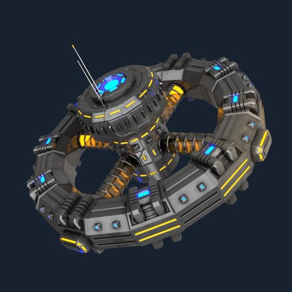 sci-fi orbital station 3d model
