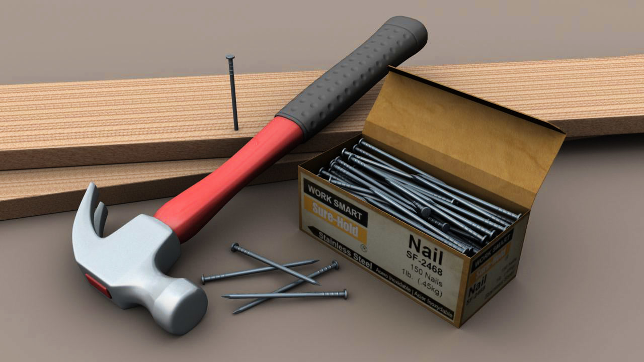 hammer nails obj