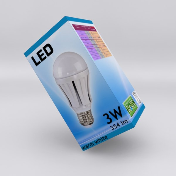 3d cardboard box led light model