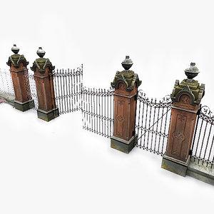 photorealistic park gates photo 3d 3ds