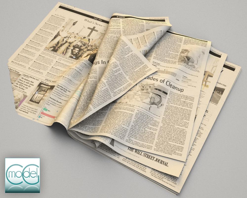 3dsmax wall street newspaper