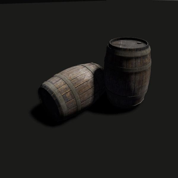 3d wooden barrel ready model