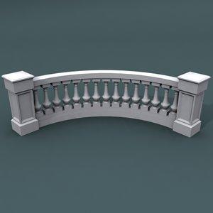 curve balustrade bend 3d model