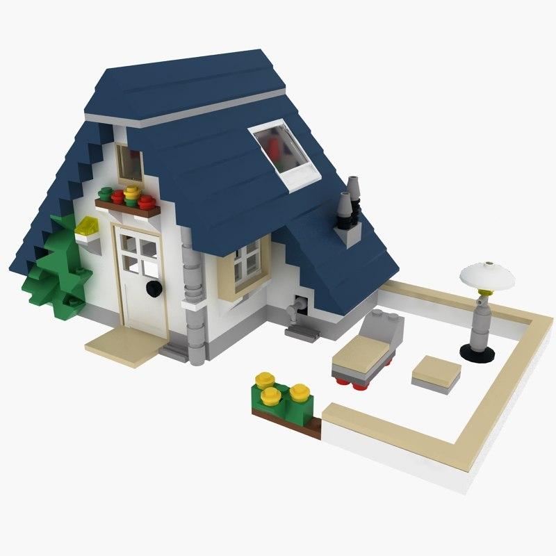 3d model house lego set