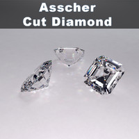 asscher cut diamond 3d 3ds