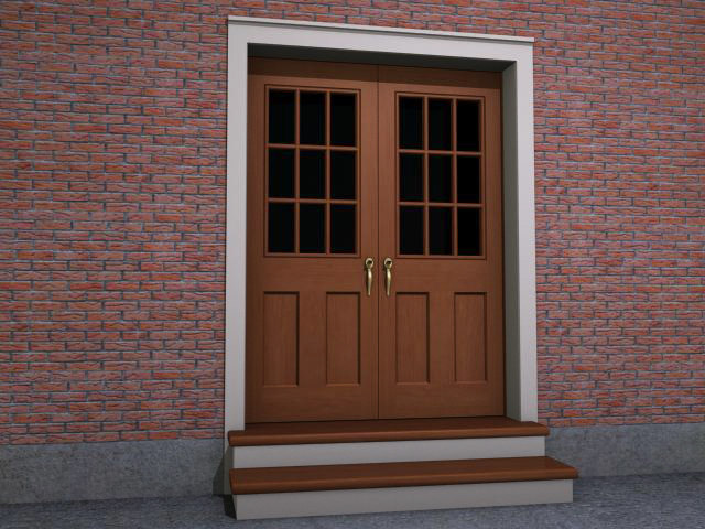 double interior exterior doorway 3d model