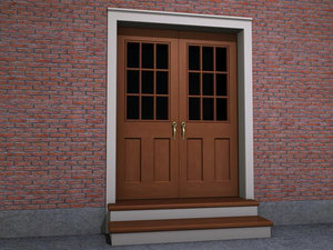 double interior exterior doorway 3d model