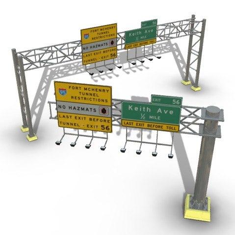3ds highway overhead signs