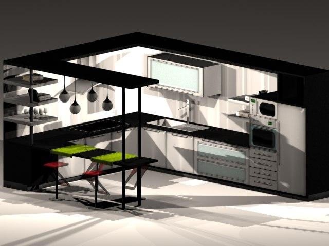 modern kitchen 3d max