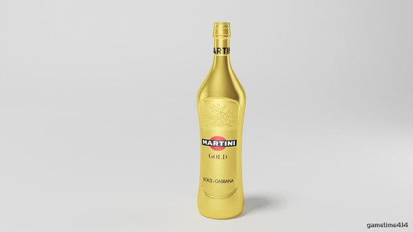 martini bottle 3d max