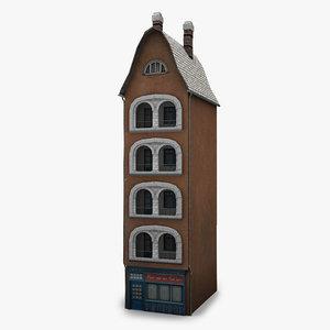 low-poly house facade c 3d obj