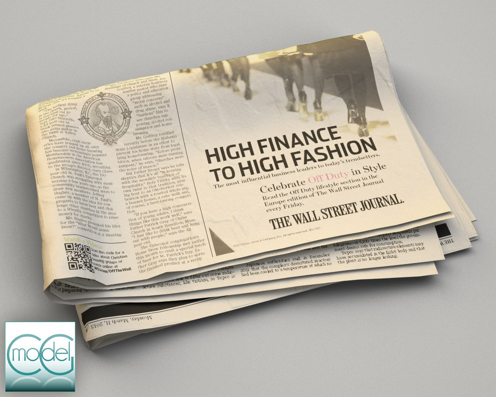 3d model wall street newspaper