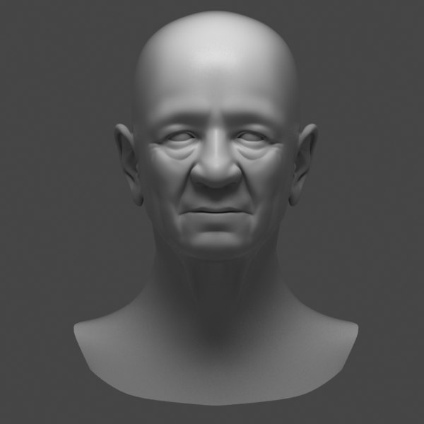 polygonal head old man 3d model