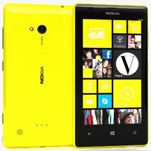 nokia lumia 720 yellow 3d ma