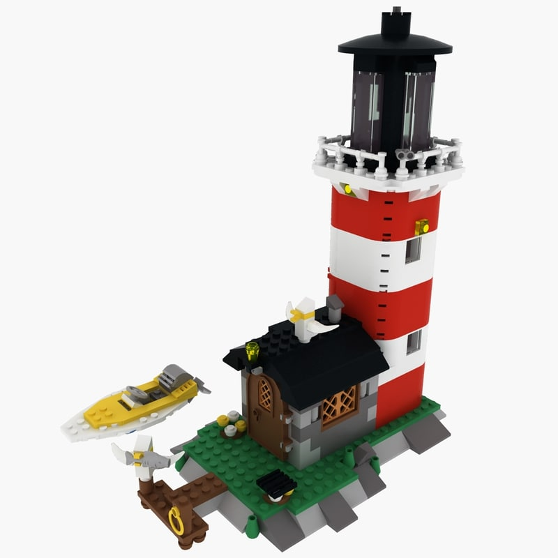 lighthouse light island lego 3d model
