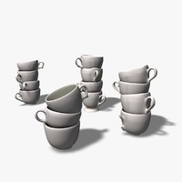 3d model teacups chipped broken