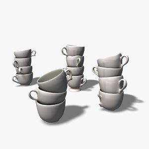 3d model teacups chipped broken