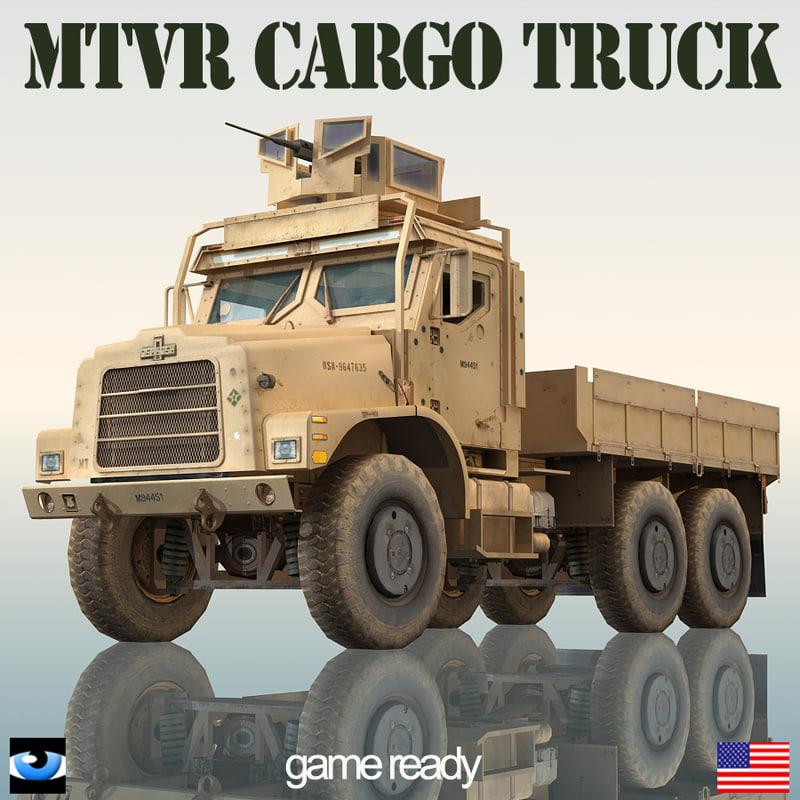 oshkosh mtvr military cargo truck 3d model