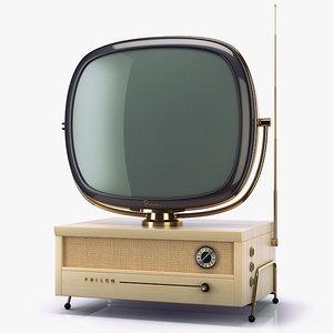 3d model retro tv philco predicta