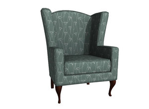 3d model of wing-back chair