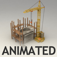 Animated tower crane model with constrution place
