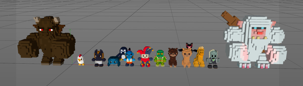 3d model mob pack cube world