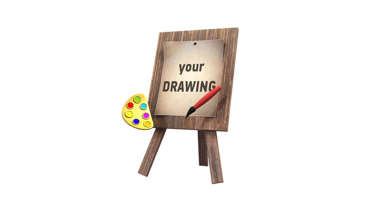cartoon artist drawing board obj