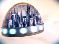 3d floating town model