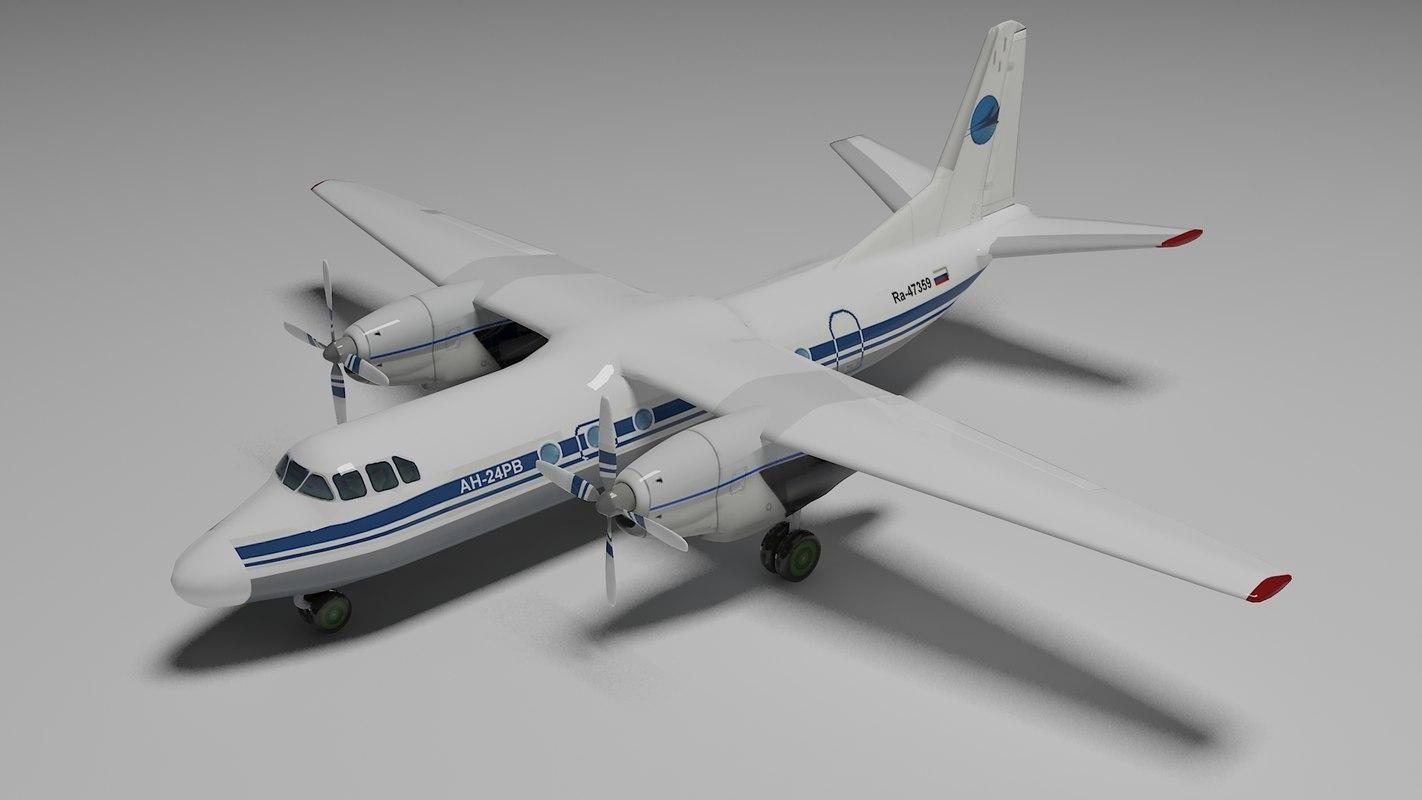 antonov an-24 aircraft 3ds free
