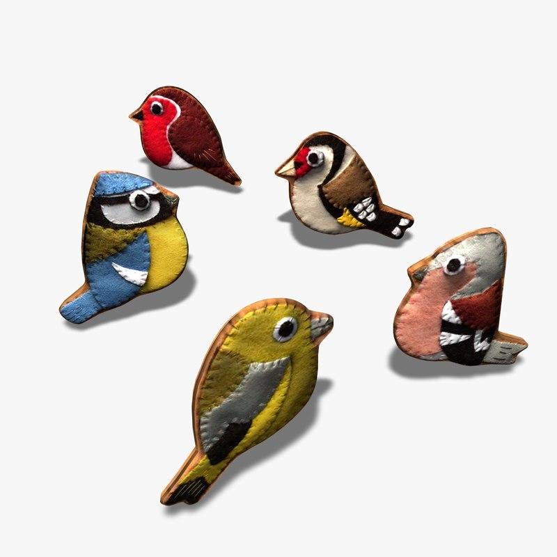 3d felt ornamental birds