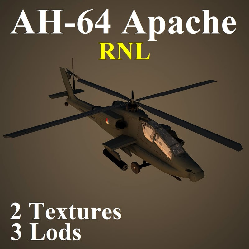 3d model ah-64 apache rnl attack helicopter