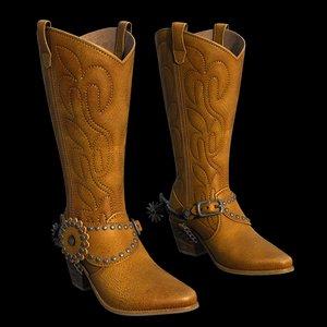 3d model western boots