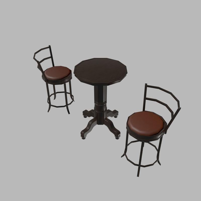 pub furniture 3d model