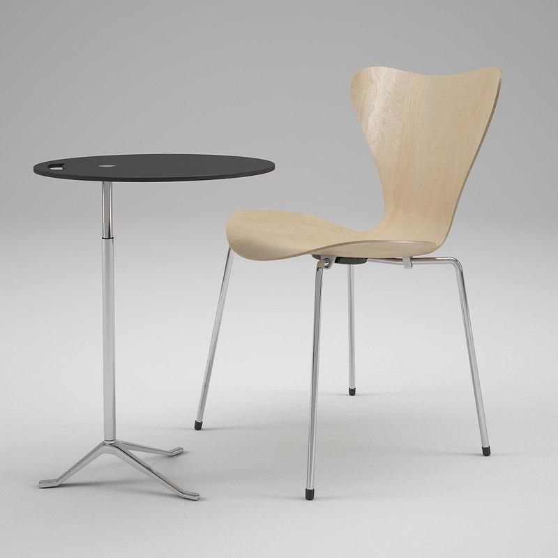 fritz hansen swivel chair 3d model
