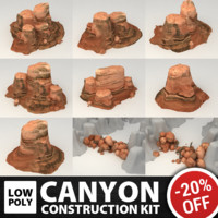 Low Poly canyon construction kit