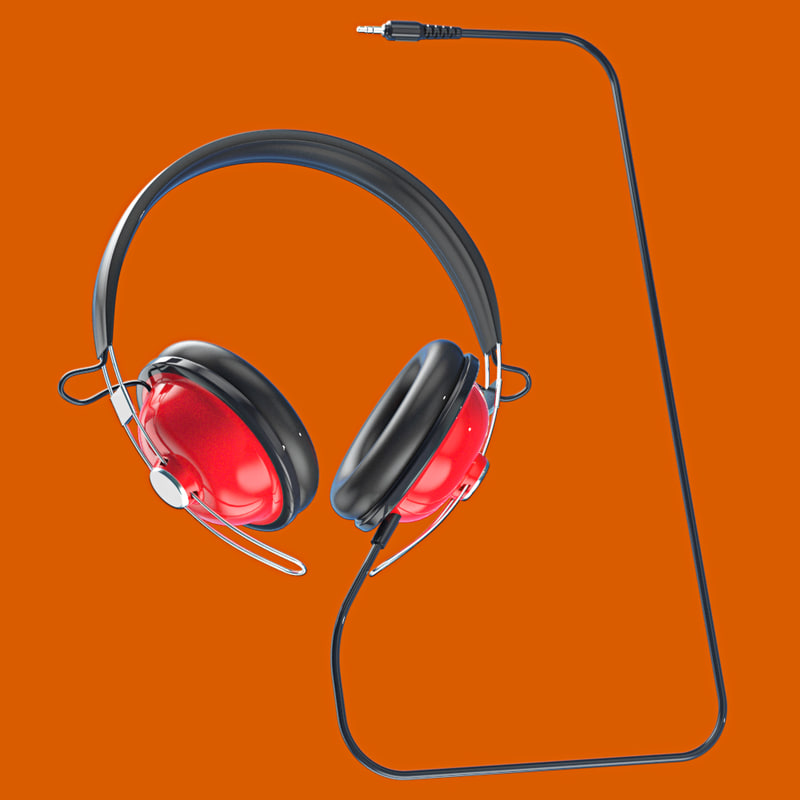retro headphones 3 5mm 3d model