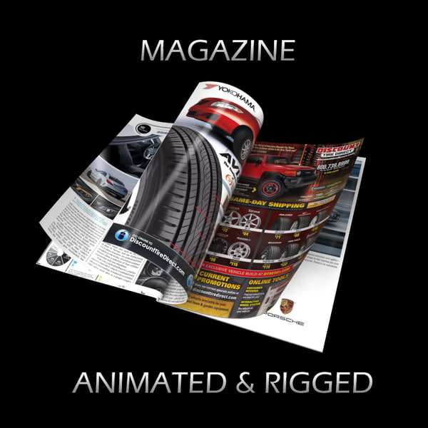 magazine opening rigged 3d model