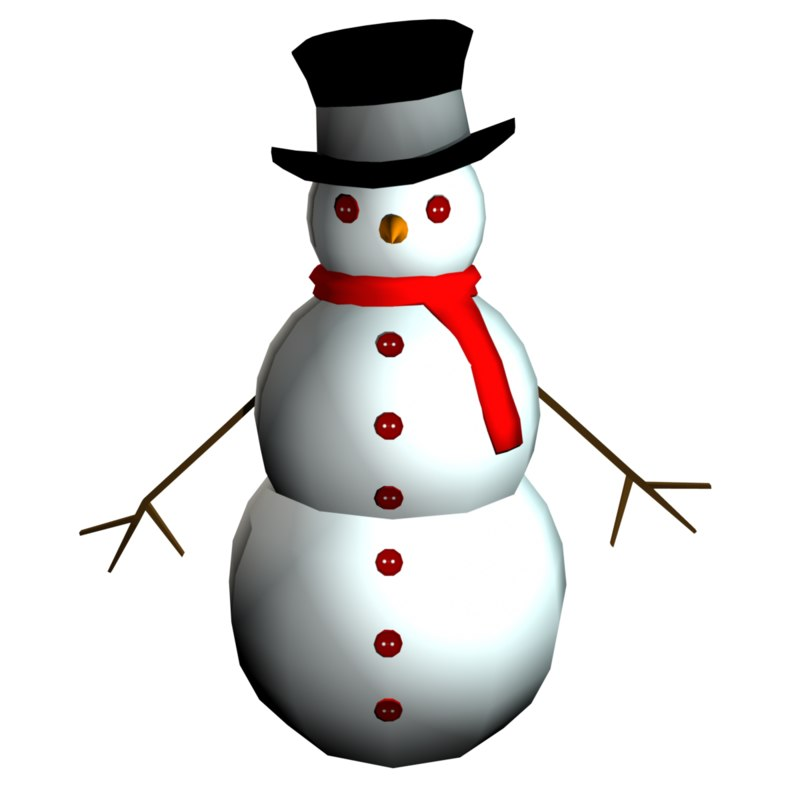 3d snow man rigged animation