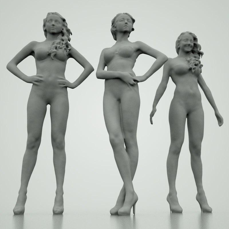 3d girls poses model