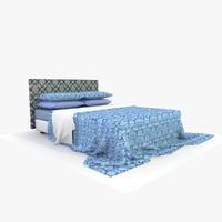 3d model bed blue