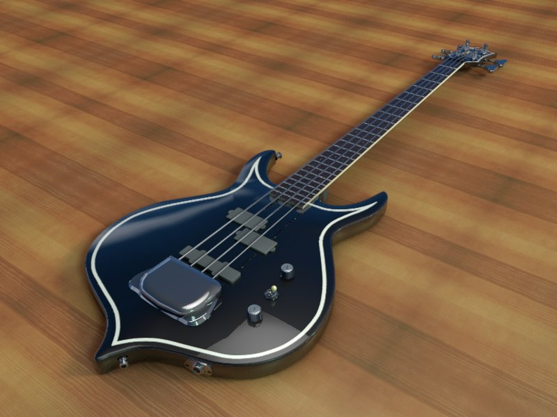 gene simmons cort bass guitar 3d model