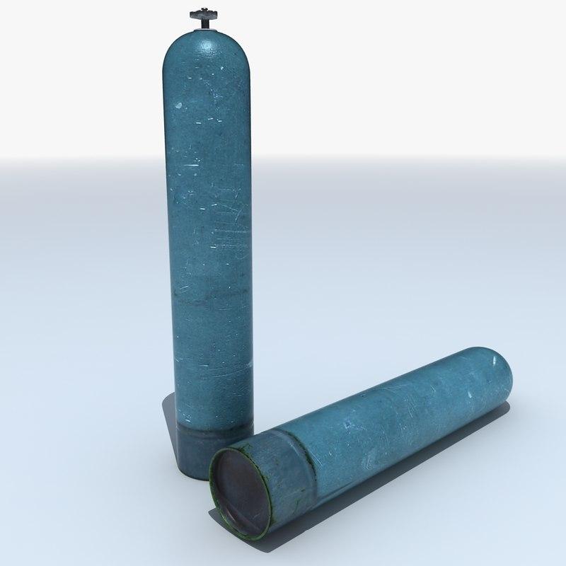 pressurised gas cylinder canister 3d model