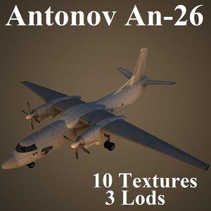 3d antonov an-26 low-poly model