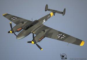 3d messerschmitt bf airplane plane model