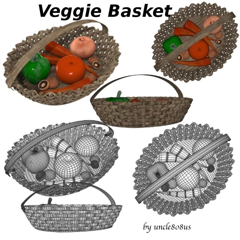 3d basket vegetables tomato