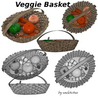 3d basket vegetables tomato