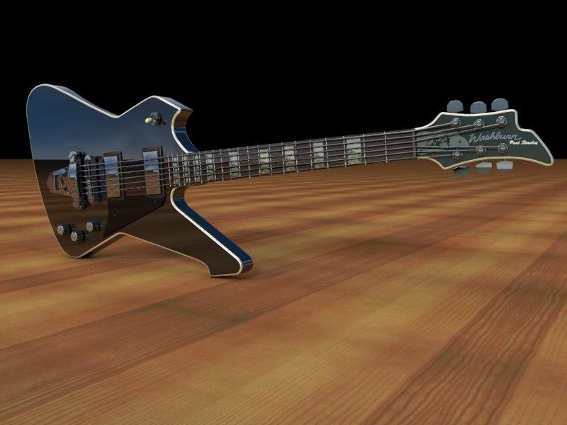 3d washburn ps1800 black guitar