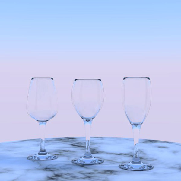3d model of 3 wine glasses