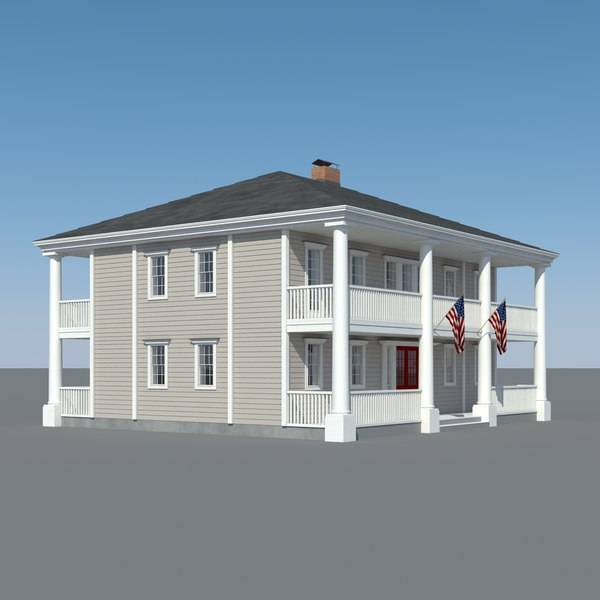 colonial house wood 3d max