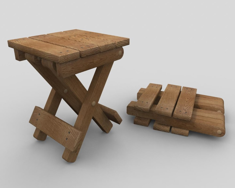 obj simple collapsible wooden table